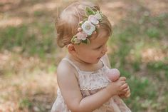 This listing is for one felt flower crown headband with pink, gold and white flowers and green leaves. All headbands are handmade to order. Current turnaround time is approximately 3-5 days. Each dainty felt flower crown measures approximately 4.5-5 across. This flower crown headband