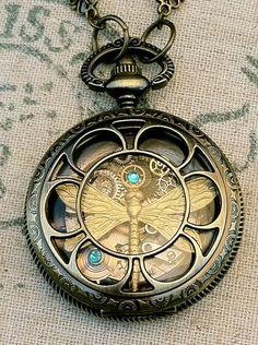 gorgeous original steampunk-inspired golden dragonfly pocket watch style locket