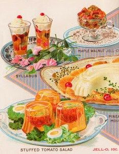 vintage jell-o ad Jello Recipes, Old Recipes, Vintage Recipes, Good Food, Yummy Food, Retro Food, Vintage Food, Vintage Ads, Fun Cocktails