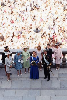 vicofsverige:  Crown Princess Victoria's 18th birthday, July 14, 1995-Crown Princess Victoria at 18, the day she received her majority as heir; with her, l-r King Harald of Norway, Queen Silvia, Queen Ingrid of Denmark, Princess Lilian, Princess Madeleine, King Carl Gustaf, Prince Carl Philip, Queen Sonja of Norway