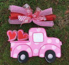 Valentine door hanger,Valentine truck door hanger,Heart door hanger,Valentine wreath,personalized door hanger,wooden door decor,Welcome sign by Furnitureflipalabama on Etsy https://www.etsy.com/listing/217174062/valentine-door-hangervalentine-truck