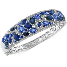 Effy Sapphire (15-3/4 ct. t.w.) and Diamond (3/4 ct. t.w.) Bangle... ($16,299) ❤ liked on Polyvore featuring jewelry, bracelets, white gold, 14k bangle bracelet, bracelets bangle, diamond bracelet bangle, white gold bangle and diamond bangle