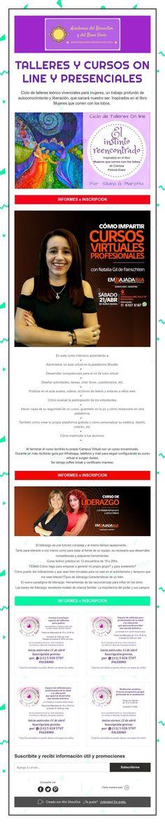 Talleres y cursos on line y presenciales Academia, Running Women, Deep, Live, Wellness, Atelier