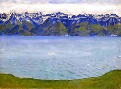 Ferdinand Hodler (1853-1918), Genfersee mit Savoyerbergen, 1907, Öl auf Leinwand, 36 x 49 cm