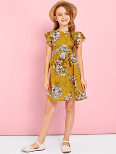 d8cd44b2df Product name: Girls Ruffle Armhole Belted Floral Dress at SHEIN, Category: Girls  Dresses
