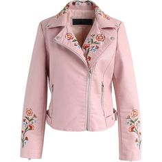 Chicwish Drive Me to Garden Embroidered Faux Leather Jacket in Pink ($67) ❤ liked on Polyvore featuring outerwear, jackets, pink, faux leather biker jacket, moto jacket, embroidered jackets, pink moto jacket and pink biker jacket