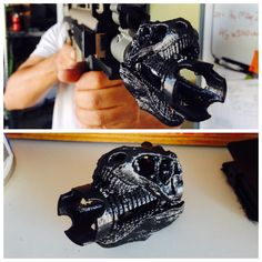 My friend is really into Airsoft, so he made these for his kit. T-Rex flash hiders. #airsoft #gun
