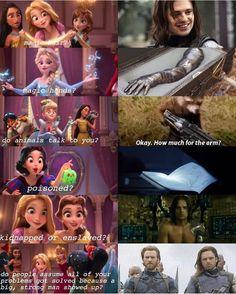 So bucky is a Disney Princess? Princess bucky of 'MURICA Avengers Humor, Marvel Avengers, Marvel Jokes, Funny Marvel Memes, Dc Memes, Marvel Dc Comics, Marvel Heroes, Funny Memes, Disney Princess Memes