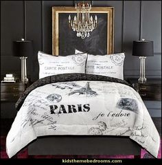 french inspired girls bedroom in gray and red | Decorating theme bedrooms - Maries Manor