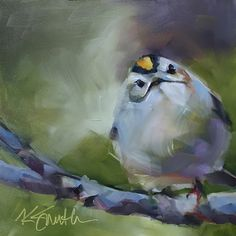 golden-crowned kinglet is an original oil painting by Lancaster, Pa, artist Kim Smith #birdart #originalart #birdpainting #dailypainting #oilpainting