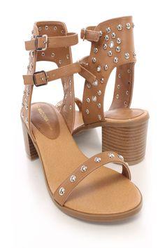 { Camel Open Toe Studded Side Buckle Chunky Heels }
