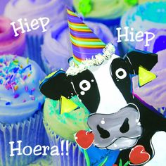 Cupcake koe - Verjaardagskaarten - Kaartje2go