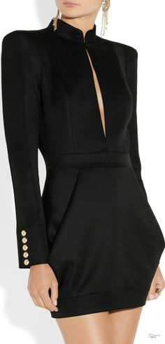 Balmain ● Wool-twill mini dress via Patricia Hernandez / RLD. That's a Beatiful LBD Fashion Mode, Look Fashion, High Fashion, Womens Fashion, Fashion Design, Looks Party, Passion For Fashion, Dress To Impress, Beautiful Dresses
