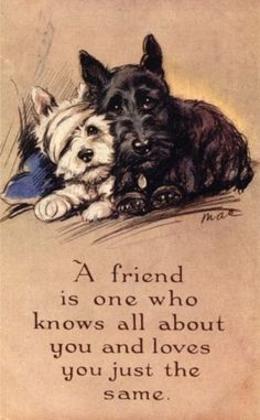 Scotties ~ A friend is one who knows all about you and loves you just the same