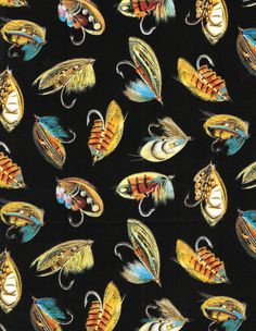 North by Northwest green fish flannel fabric