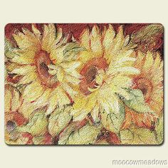 New SUNFLOWER CUTTING BOARD Red Yellow TUSCANY Kitchen Decor Floral Accent  Art