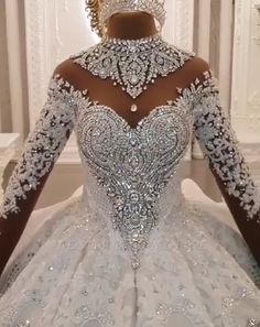 Easily attract others's attention with Ball Gown High-neck Luxury Train Long Sleeves Sparkle Applique Satin Wedding Dresses from babyonlinewholesale, all in latest design with delicate & luxury details. Luxury Wedding Dress, Classic Wedding Dress, Dream Wedding Dresses, Wedding Gowns, Diamond Wedding Dress, Lace Wedding, Diamond Dress, Stunning Wedding Dresses, Crystal Wedding