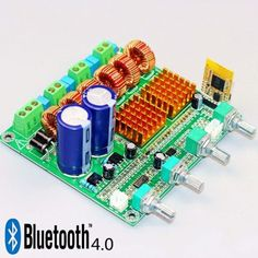 2.1 Class-D Power Amplifier Board with Bluetooth 4.0. This is one of the best 2.1 channel amps that I have found so far.