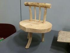 kinderstoel met harten zitting, te koop, kidsstool,with heart from roundwood, for sale