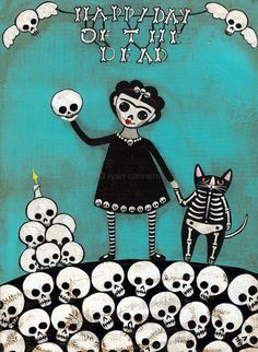 Happy Day of the Dead Original Folk Art by KilkennycatArt