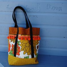 fun tote from vintage fabric and and fun ball fringe