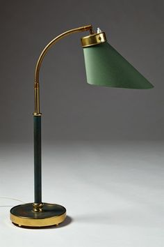 Table lamp designed by Josef Frank for Svenskt Tenn, Sweden. - Lacquered brass, polished brass and cotton. Brass Table Lamps, Brass Lamp, Best Desk Lamp, Crystal Lights, Contemporary Home Furniture, Modern Interior, Interior Design, Josef Frank, Task Lamps