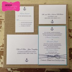 NAUTICAL Wedding Invitations with Baker's by KnotJustWeddings