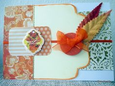 Handmade card with orange/gold colour theme