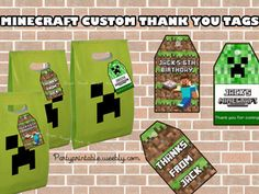 MINECRAFT FAVOR TAGS BIRTHDAY PARTY partyprintable.we... Minecraft printable decoration, Minecraft birthday party decoration, Minecraft gifts, Minecraft invitation, Minecraft, Minecraft creeper, Creeper decoration, Minecraft digital file, Minecraft free decoration, minecraft printables