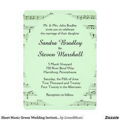Sheet Music Green Wedding Invitation