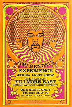 """""""The Jimi Hendrix Experience - Fillmore East."""" Fantastic A4 Glossy Art Print Taken from A Vintage Concert Poster by Design Artist http://www.amazon.co.uk/dp/B0155W1G96/ref=cm_sw_r_pi_dp_rcp8vb19GBVCG"""