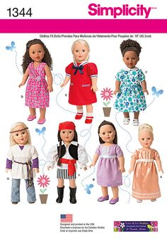 "get crafty using trims with these dresses and costumes for 18"" dolls. pattern   includes five dresses and two adorable costumes. pirate includes belt with bandana and hippie costume includes belt and   headband."