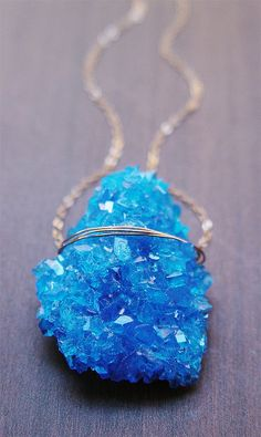 Blue Chalcanthite Gold Necklace  via Shopmine, get product recommendations based on people you follow!