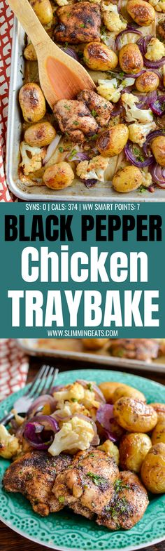 Make this delicious Syn Free Black Pepper Chicken Traybake for dinner tonight, simple dish with roasted cauliflower and baby potatoes. Slimming World Recipes Syn Free Chicken, Slimming World Chicken Dishes, Slimming Recipes, Homemade Recipe Books, Whole30, Black Pepper Chicken, Sheet Pan Suppers, Slimming Eats, Midweek Meals