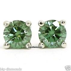 1 40 Ct Vvs Beautiful Green Color Diamond Earring Stud 14k Gold Solitaire Earrings