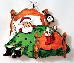 SANTA CLAUS IN BED, STOCKING, BOOTS, CLOCK* Glitter CHRISTMAS ORNAMENT * Vtg Img