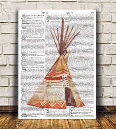 Adorable Dictionary print. Gorgeous Tribal poster for your home and office. Amazing Teepee decor. Pretty contemporary Watercolor print.    SIZES:
