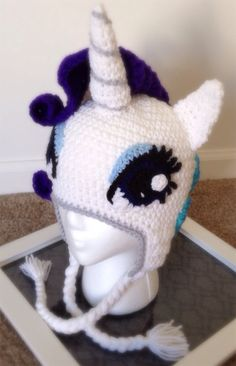 Rarity My Little Pony Crochet Beanie Hat by KarliethenSOLEIL