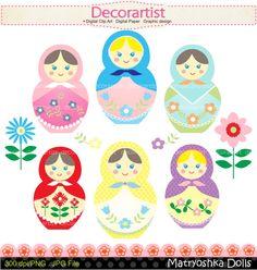 Matryoshka dolls clip art girl clip art instant by decorartist, $4.80