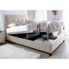 Sleep Sanctuary // Kaydian Accent Upholstered Ottoman Storage Bed - Oatmeal Fabric - $599.00