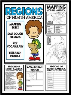 Regions of North America - Mapping Skills, Salt Dough Maps, Key Vocabulary, and Research Project! An excellent addition to your Social Studies Curriculum! Social Studies Curriculum, Social Studies Worksheets, 6th Grade Social Studies, Social Studies Classroom, Social Studies Activities, Teaching Social Studies, Geography Activities, Teaching History, North America Geography