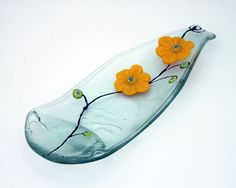 Fused Glass Curved Wine Bottle Serving Tray , Recycled Glass Art Worke