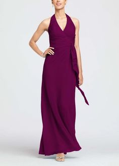 Soft Crinkle Chiffon Halter with Draped Cascade Sangria Material: Crinkle Chiffon. Size: 12.  #David'sBridal #Apparel