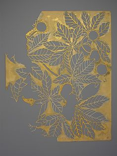 Chestnut Leaves and Conkers, before 1905, paper stencils for fabric design, Dorothy Marshall Hornblower, printer of  fabric designs at Tiffany's, New York