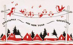 Vintage Art Deco Bird Christmas Card | It's my cake