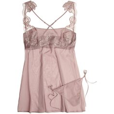 La Perla LP Style stretch-silk georgette chemise and thong ($180) ❤ liked on Polyvore featuring intimates, chemises, lingerie, pajamas, tops, underwear, chemise, camisoles and chemises, taupe and lingerie slips