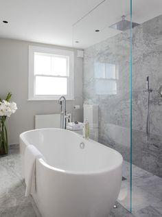 Bad-Ideen Laura Hammett - bathrooms - marble bathroom, open shower, open shower ideas, rain shower h Modern Bathroom Decor, Bathroom Layout, Contemporary Bathrooms, Bathroom Interior Design, Bathroom Designs, Bathroom Ideas, Bathroom Renovations, Bathroom With Shower And Bath, Bathroom Showers