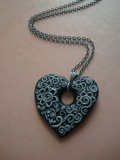 Sparkling Night Polymer Clay Necklace. $35.00, via Etsy.