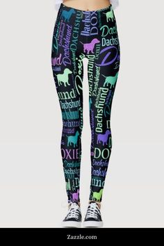Dachshund Faces Purple Yoga Tights Short Running Pants Workout
