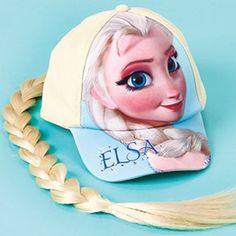 New Frozen Elsa Ponytail Cap Frozen Hat With Braid New FROZEN cap with a full-color print of Elsa on the front and a long platinum blond braid in the back, this stretch twill cap is a delightful addition to your princess's casual outfit or Elsa costume of her own design. Tiny clear rhinestones around Elsa's name on the bill add a touch of sparkle. #Disney #Frozen #Elsa Cap product details:  Attached synthetic ponytail Rhinestone details Stretch fit One size fits most children and teens…